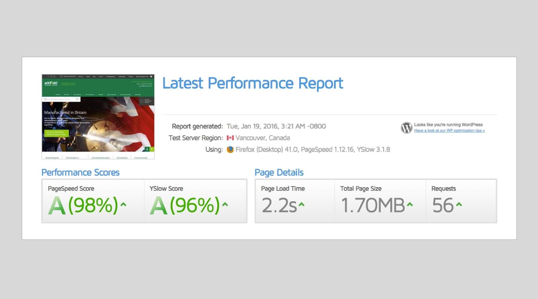 GT Metrix Results Screenshot