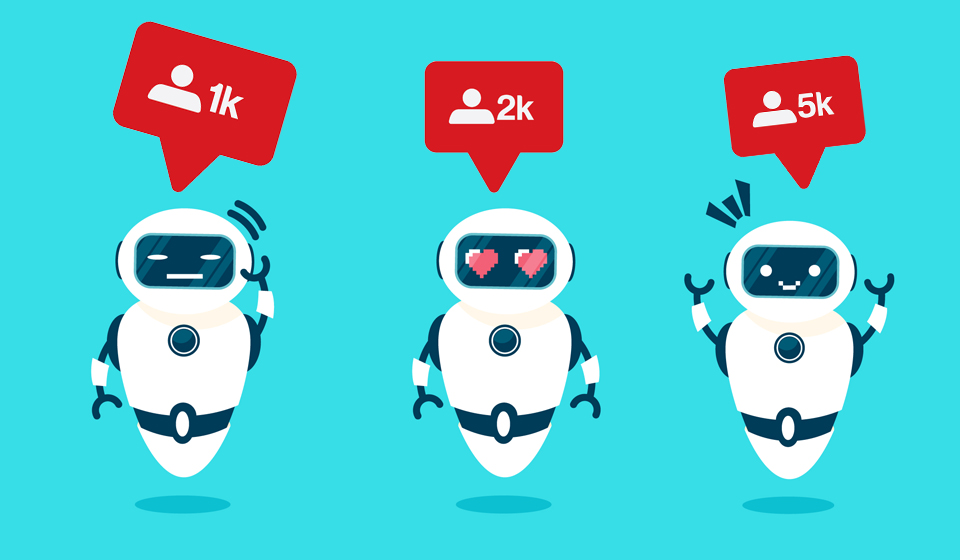 Social-media-robot-bots-with-instagram-likes-above-heads