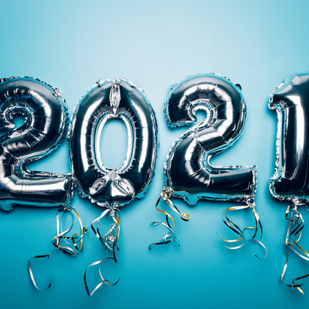 Silver 2021 balloons on blue background