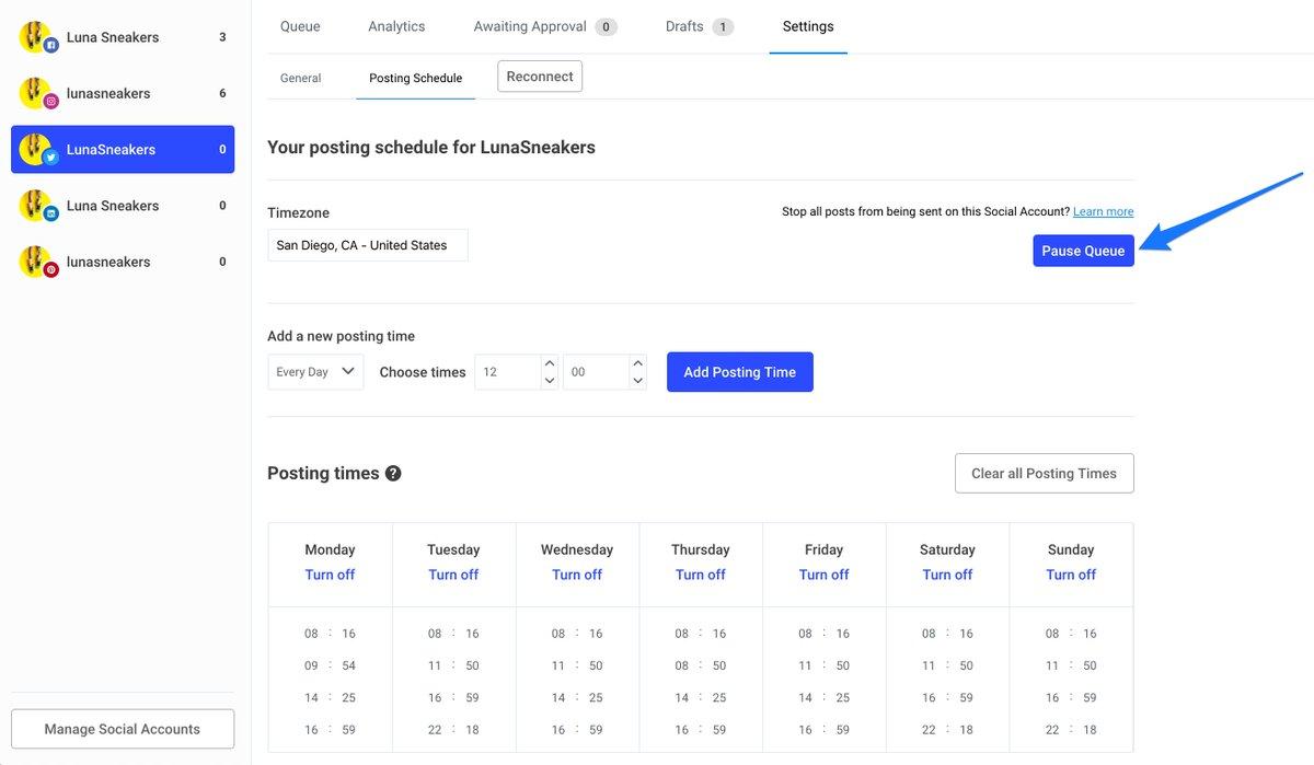 screenshot of buffer website showing social media scheduling