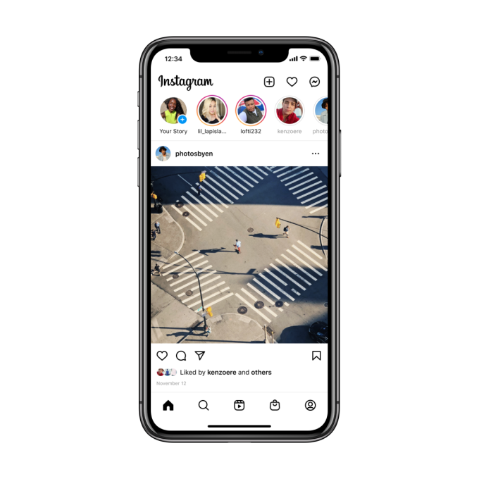 Instagram home screen layout