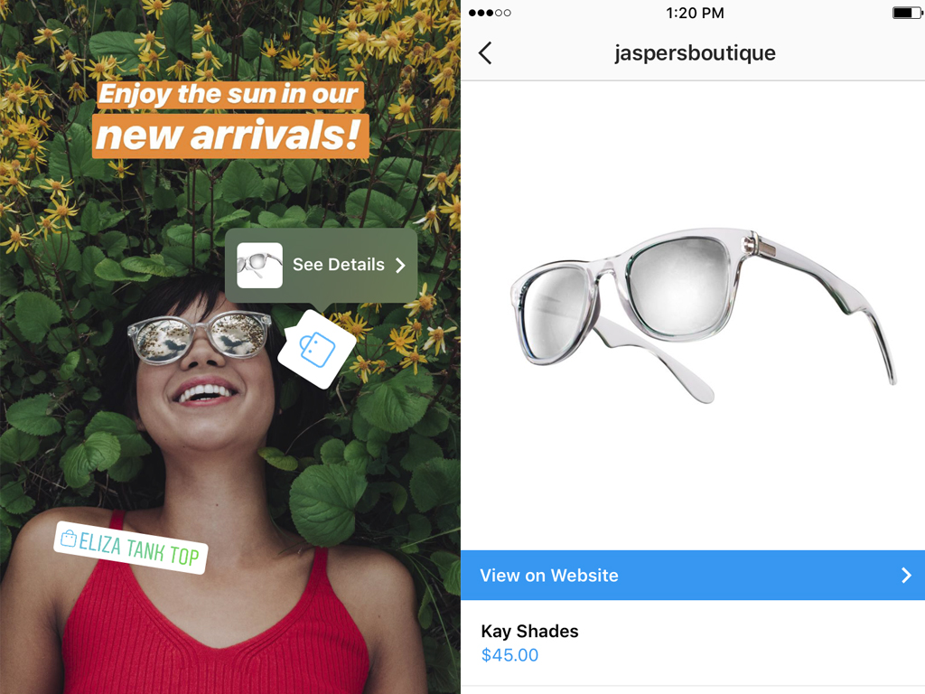 tagged photo on instagram story selling sunglasses