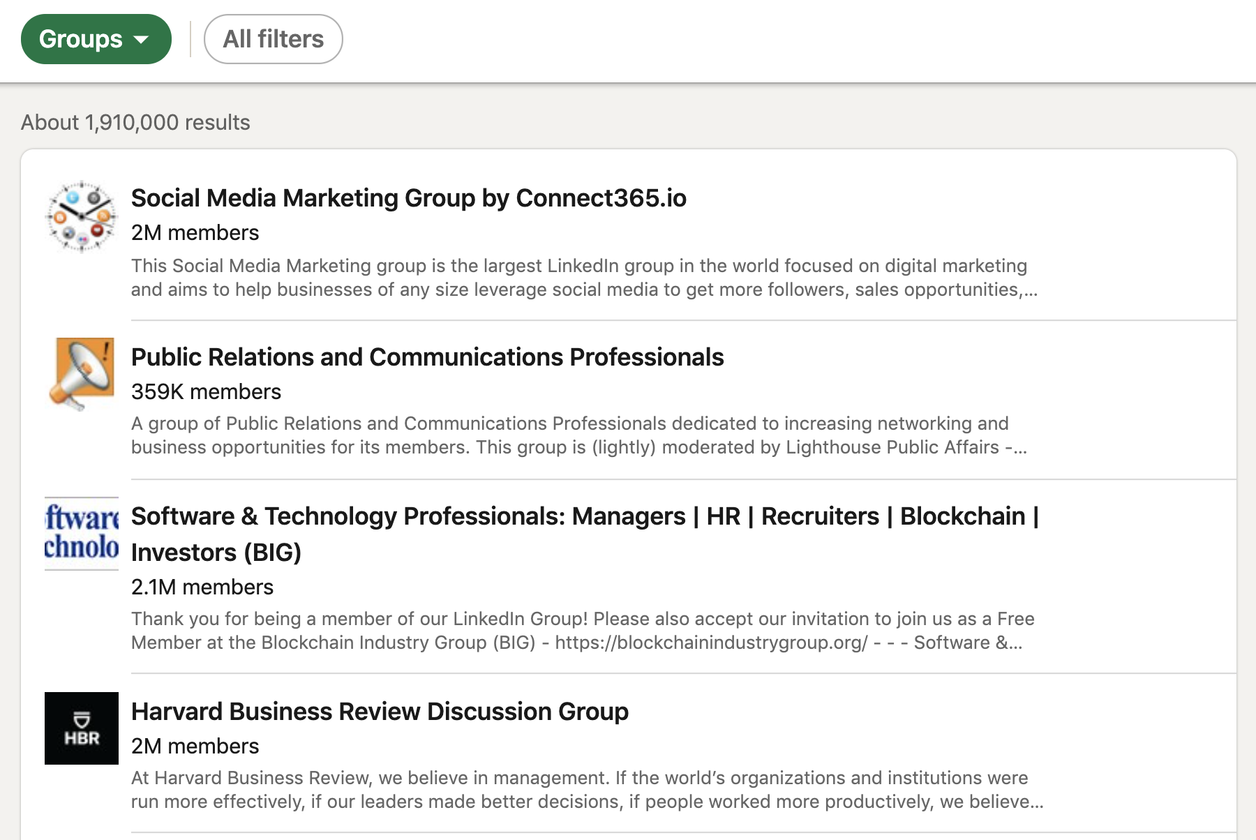 list-of-groups-on-linkedin