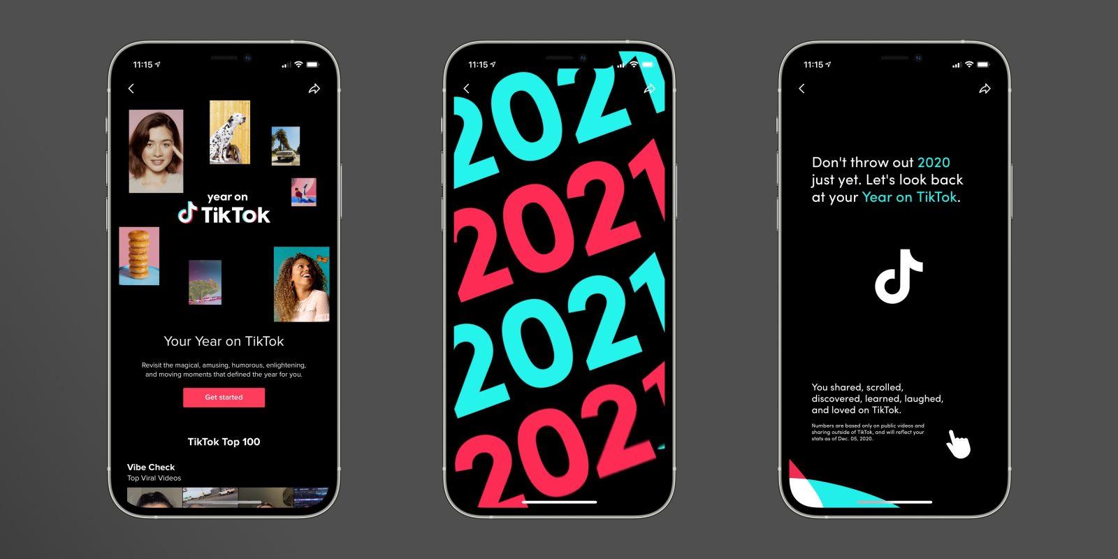 TikTok images on phone screens