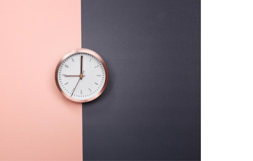 clock-on-pink-black-background