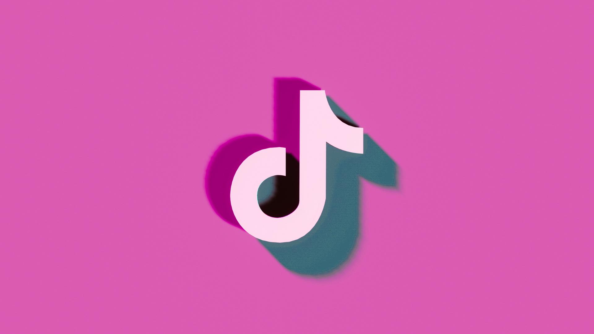 tiktok logo on pink background